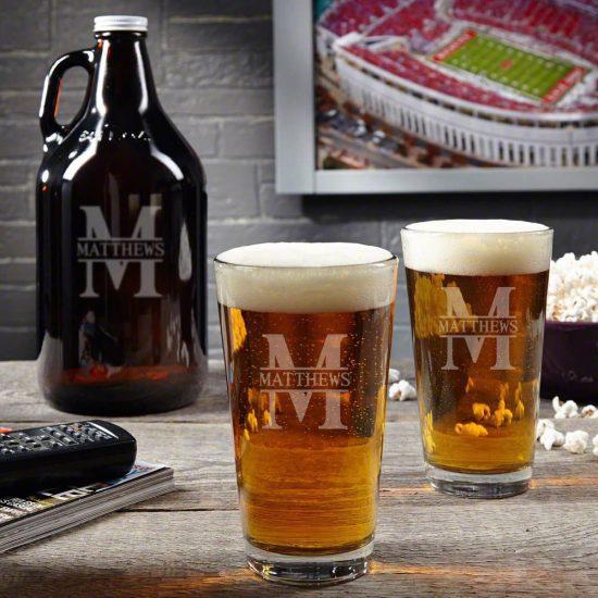 Beer Growler and Pair of Pint Glasses