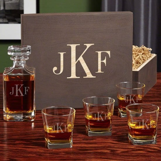 Decanter Set in a Personalised Wooden Gift Box Set