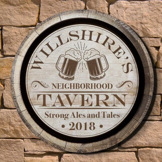 Personalized Round Wood Tavern Sign