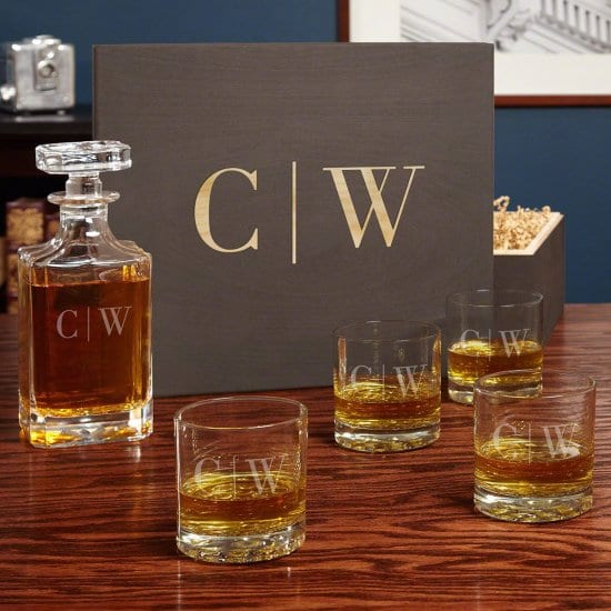 Monogrammed Gifts for Him Whiskey Decanter Box Set with Glasses