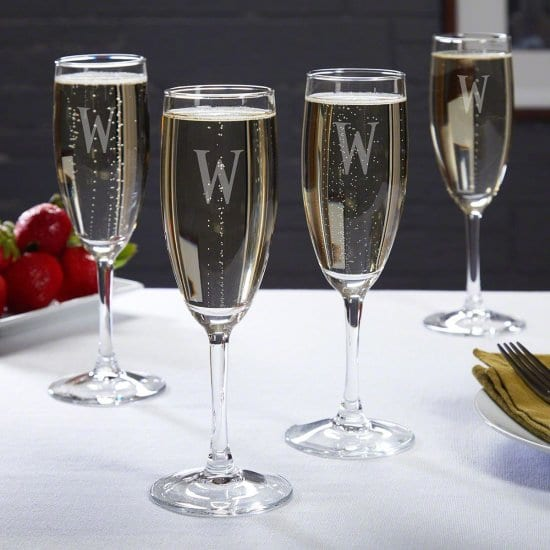 Set of Four Personalized Champagne Flutes