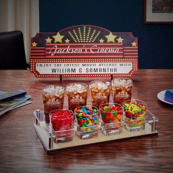 Engraved Snack Tray Set and Movie Sign