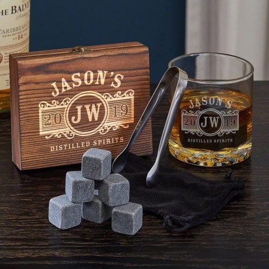Engraved Whiskey Stone and Old Fashioned Glass