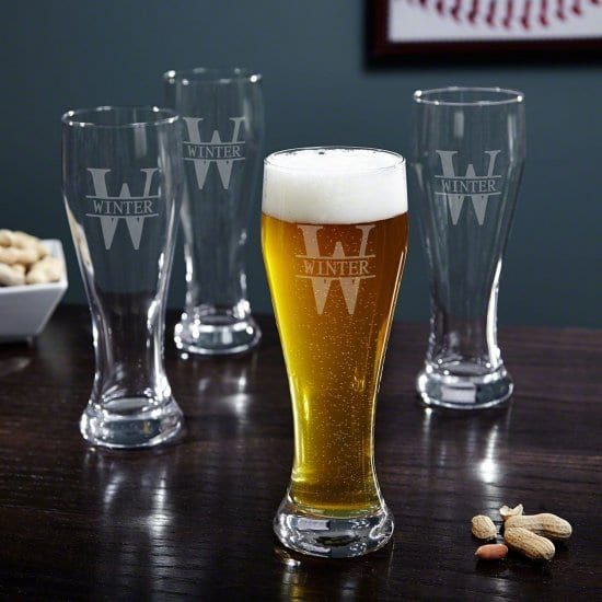 Set of Four Engraved Pilsner Beer Glasses