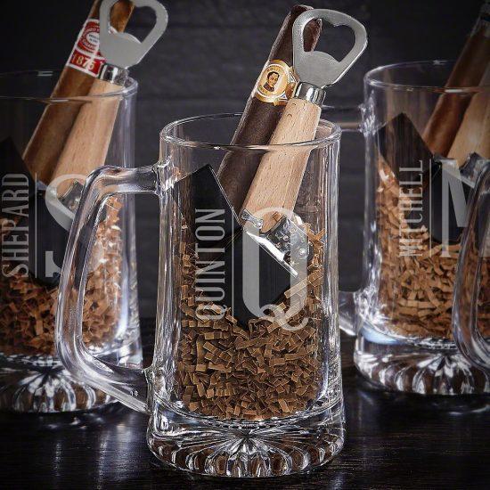 Engraved Beer Mug with Lighter and Bottle Opener Gifts for Men Under $50