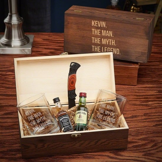 Legendary Wood Gifts for Him with Whiskey Glasses