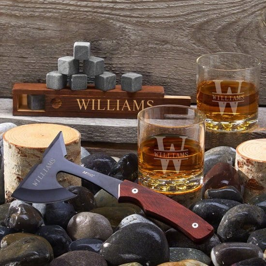 Engraved Whiskey Glass and Stone Set with Hatchet