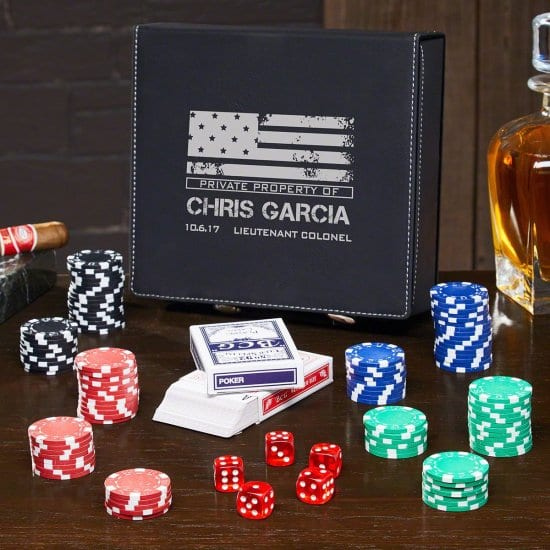 Personalized Leather Poker Set