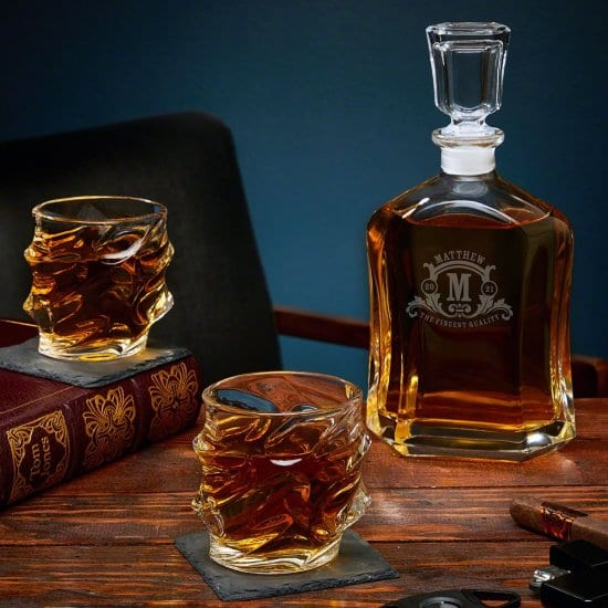 Custom Whiskey Decanter with Sculpted Glasses