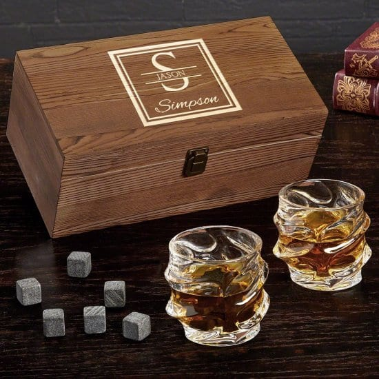 Engravable Wooden Box Set with Rocks Glasses