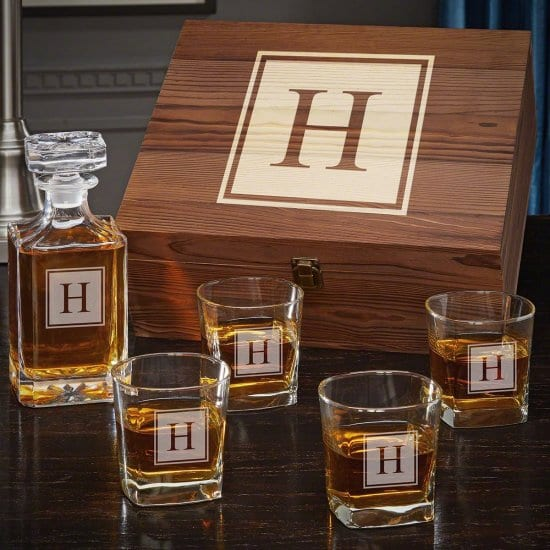 Custom Whiskey Decanter and Glasses Set with Gift Box