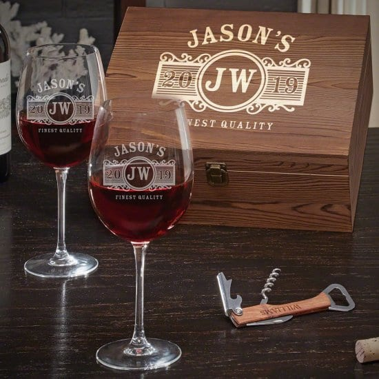 Engraved Wine Glass Box Set for Weddings