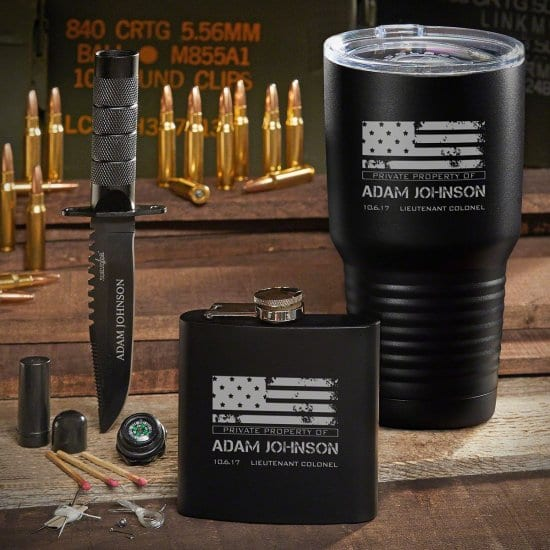 Engraved US Navy Gifts Set with Tumbler and Flask