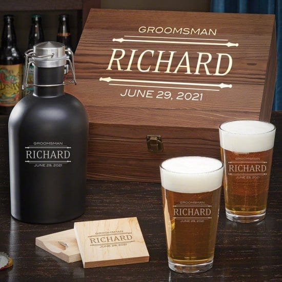 Personalized Beer Growler and Pint Glasses Box Set