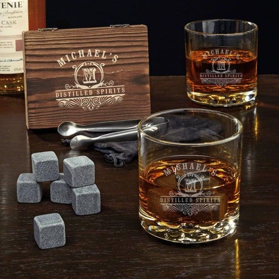 Engraved Whiskey Glass and Stone Set