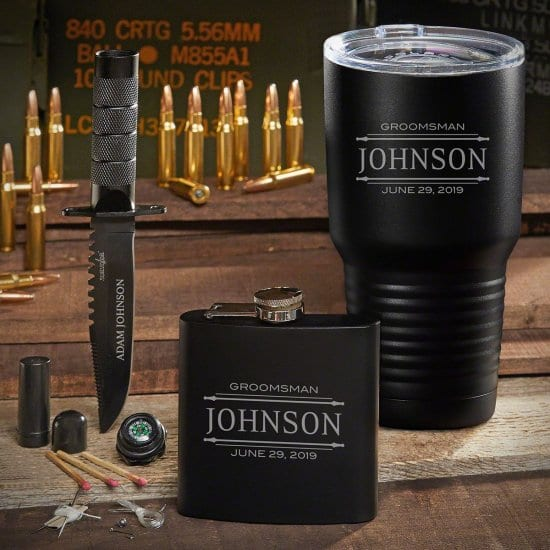 Coffee Tumbler, Flask, Survival Knife Set