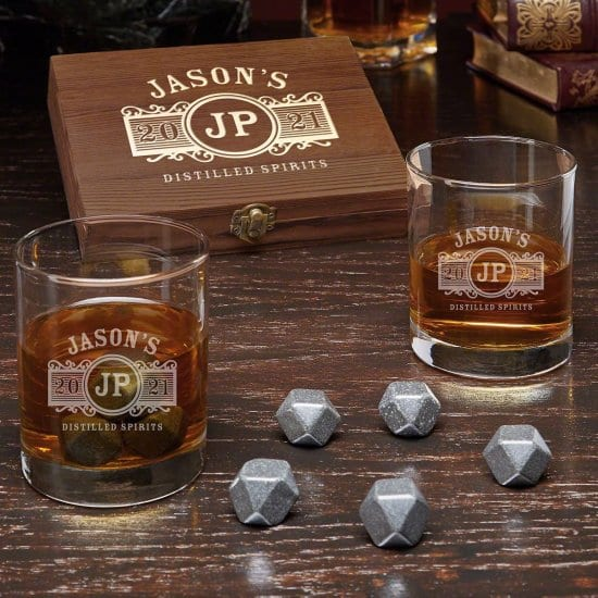 Engraved Whiskey Stones and Two Glasses