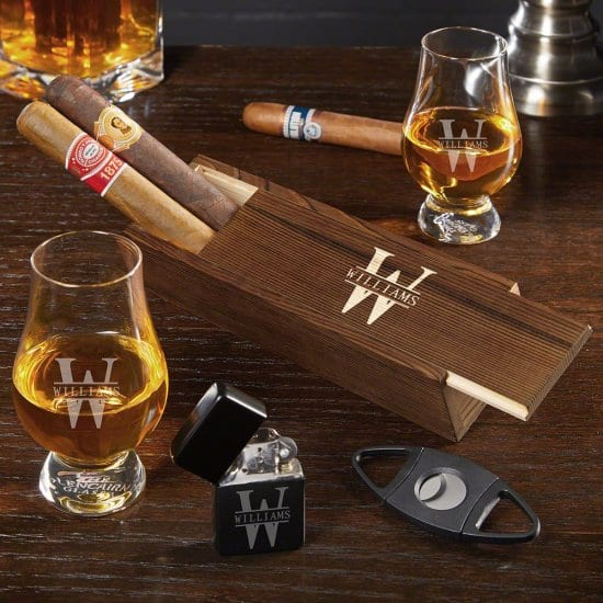 Cigar Box and Whiskey Glass Gift Set