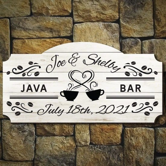 Personalized Coffee Bar Sign Wedding Gift Idea