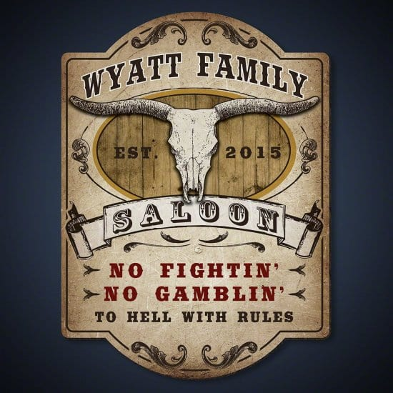 Engraved Fathers Day Saloon Sign
