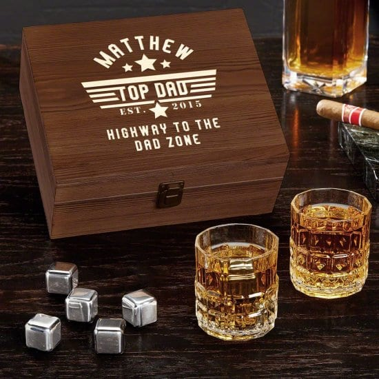 Whiskey Stones and Glasses Set Fathers Day Presents