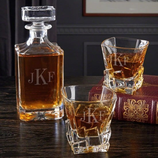 Monogrammed Whiskey Decanter and Sculpted Ice Glasses