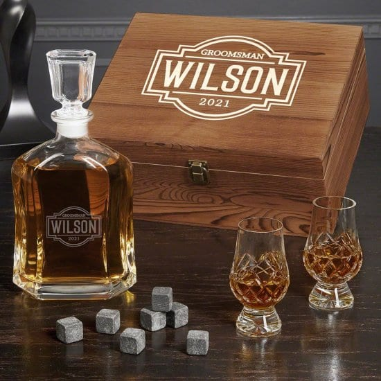 Crystal Decanter Set with Whiskey Stones