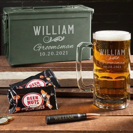 Giant Beer Mug and Ammo Can Set of Custom Gifts for Him