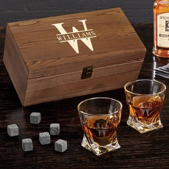 Personalized Whiskey Glass Set with Stones and Gift Box