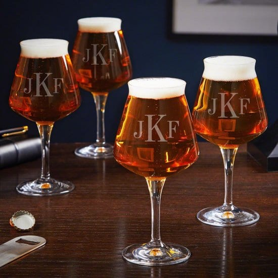 Monogrammed Beer Tasting Glasses