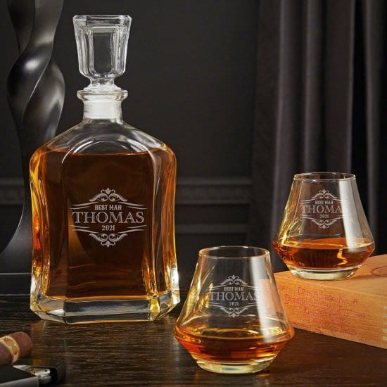 Engraved Whiskey Decanter and Tasting Glasses