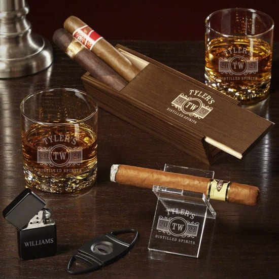 Engraved Cigar Stand and Whiskey Glasses