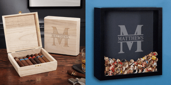 Engraved Cigar Box and Shadow Box