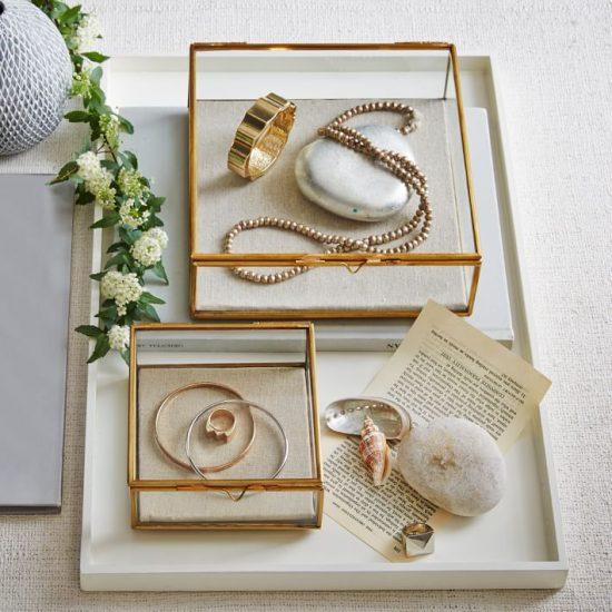 Wedding Gold and Glass Display
