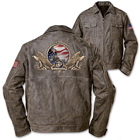 Distressed Leather Marine Jacket