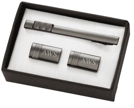 Monogrammed Cufflinks and Tie Clip