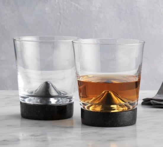 Crystal Whiskey Glasses with Black Marble Bases