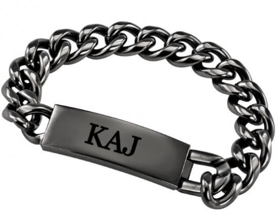 Monogrammed Gift for Him Gunmetal Bracelet