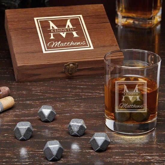 Engraved Whiskey Stones Box Set with Glass
