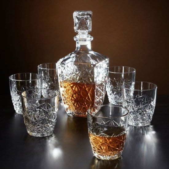 Crystal Cut Whiskey Decanter Set