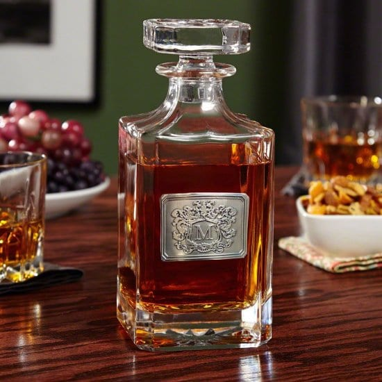Crystal Whiskey Decanter with Royal Crest
