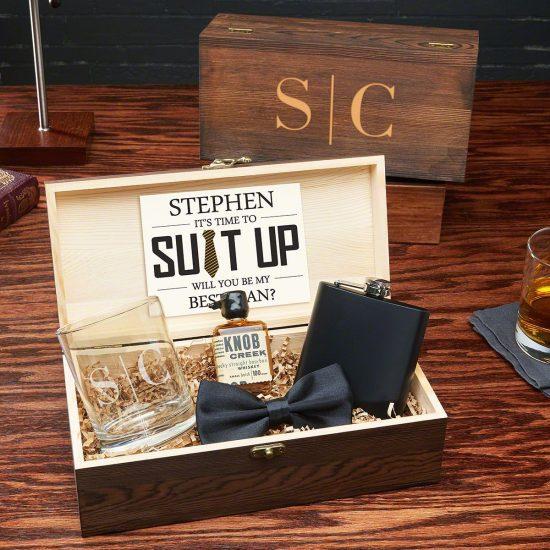 Custom Groomsmen Whiskey Cocktail Flask Box Set