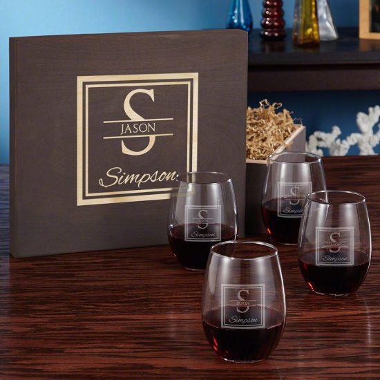 Walnut Gift Box with Wine Glasses Set