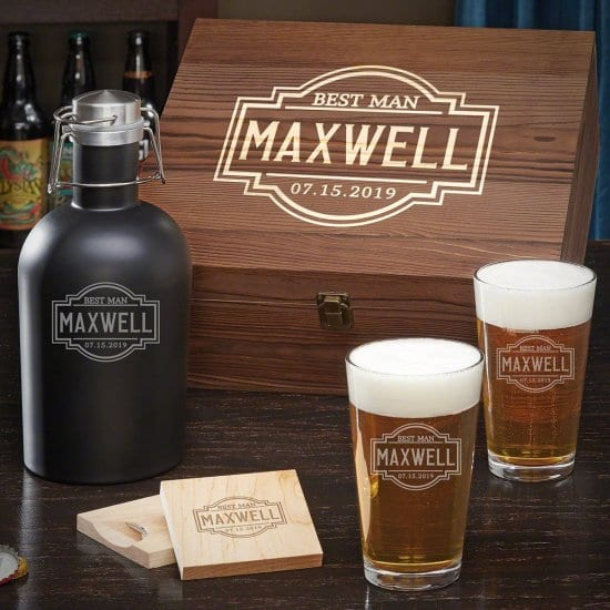 Personalized Beer Growler Box Set with Pint Glasses