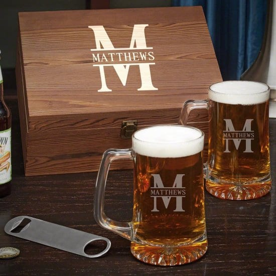 Personalized Pair of Beer Mugs with Gift Box