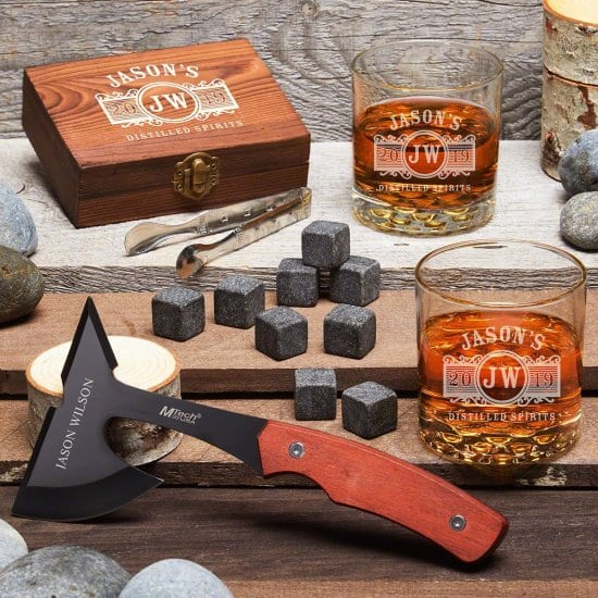 Personalized Axe Whiskey Stone Set Gifts for Hard to Buy for Men