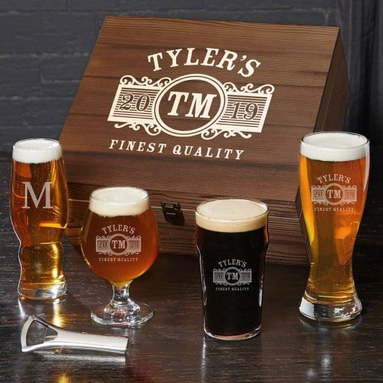 Personalized Box Set of Beer Tasting Glasses