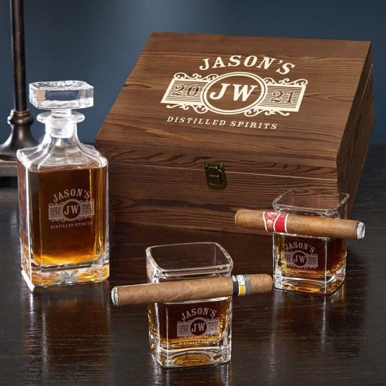 Custom Cigar Glass and Whiskey Decanter Box Set
