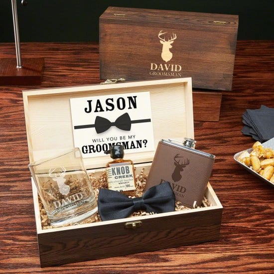 Personalized Stag Groomsmen Gift Box