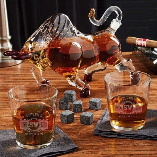 Bull Decanter with Stones and Custom Whiskey Glasses
